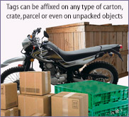 Tags that can be affixed on any goods for Tracking